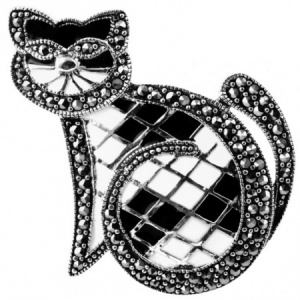Black & White Cat Brooch, Marcasite & 925 Sterling Silver
