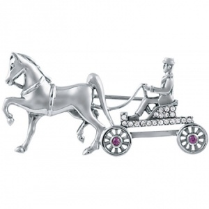 Horse & Carriage Brooch, Sterling Silver & Crystals