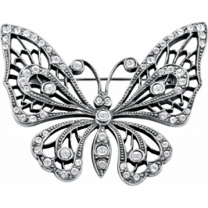 Butterfly Brooch, Sterling Silver and Crystals