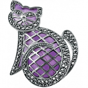 Cat Brooch, Cross Hatch Purple Enamel & Sterling Silver