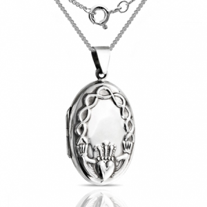 Claddagh Locket, 925 Sterling Silver, Personalised, Celtic Knot