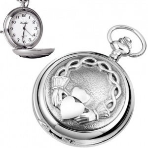 Claddagh Pewter Quartz Pocket Watch (can be personalised)