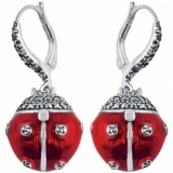 Ladybird Earrings, Red Enamel, Marcasite & Sterling Silver XOP