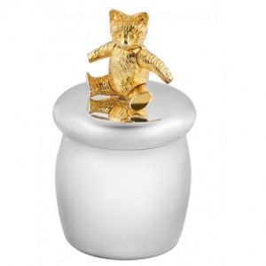 Moving Teddy Bear First Tooth Box, Sterling Silver (Engraving Available)