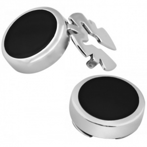 Onyx Button Covers, 925 Sterling Silver