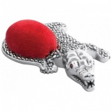 Alligator Pin Cushion, Garnet, Marcasite & 925 Sterling Silver