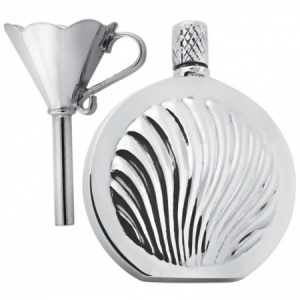 Sea Shell Perfume Bottle, & Funnel, Hallmarked Sterling Silver