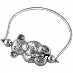 Spinning Teddy Bear Rattle, Solid Sterling Silver XOP