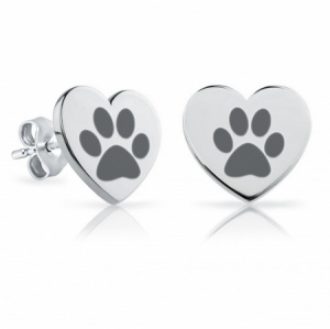 Girls Heart Paw Print Sterling Silver Stud Earrings by Pippa