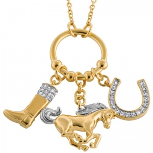 Horse Riding Charm Necklace, Gold Plated with Crystals