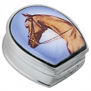 Horses Head Picture Pill Box, Hallmarked Sterling Silver