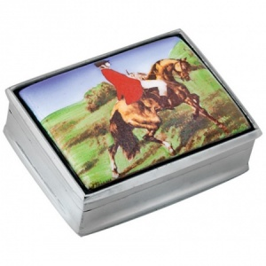 Fox Hunting Scene Picture Pill Box, Hallmarked Sterling Silver