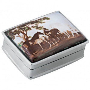 Horse Scene Picture Pill Box, Hallmarked Sterling Silver