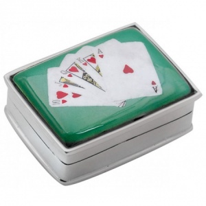 Royal Flush Picture Pill Box, Sterling Silver ZOP
