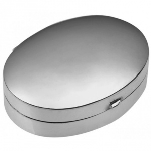 Medium Oval Pill Box, Hallmarked Sterling Silver, Personalised