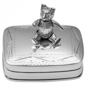 Movable Teddy Bear 1st Tooth/Curl Box, Sterling Silver (Engraving Available) ZOP