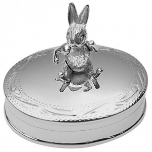 Movable Rabbit 1st Tooth/Curl Box, Sterling Silver (Engraving Available) ZOP