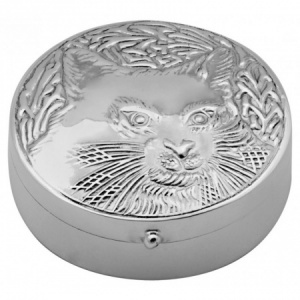 Cat Pill/Trinket Box, Hallmarked Sterling Silver ZOP