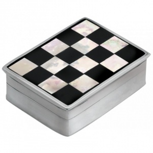 Checkered Onyx, Mother of Pearl Pill Box, Hallmarked Sterling Silver