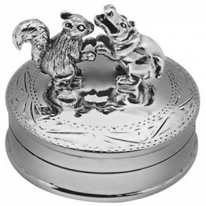 Dancing Squirrel & Hippo Pill Box, Hallmarked Sterling Silver