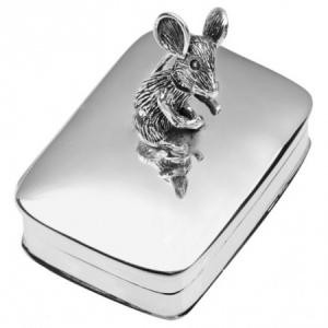 Movable Mouse Pill Box, Hallmarked Sterling Silver, Personalised