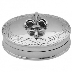 Fleur de Lys Pill Box, Hallmarked Sterling Silver, Personalised
