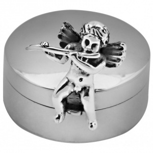 Cherub with Flute Pill Box, Hallmarked Sterling Silver, Personalised