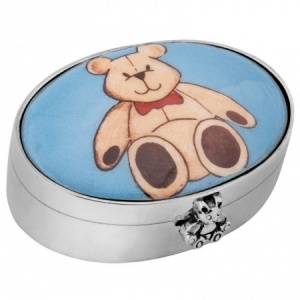 Teddy Bear Picture Pill Box, Hallmarked Sterling Silver