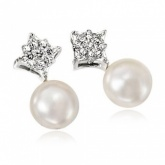 Pave Set Cubic Zirconia Diamond Shaped & White Pearl Stud Earrings