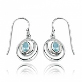 Blue Topaz Wrap Around Double Loop Sterling Silver Drop Earrings