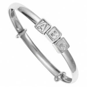 ABC Blocks Babies Bangle, 925 Sterling Silver