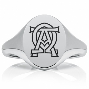 Alpha Omega Signet Ring, Mens Personalised Heavyweight Sterling Silver