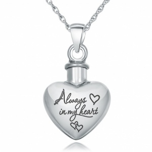Always in my Heart Ashes Necklace, Personalised, 925 Sterling Silver