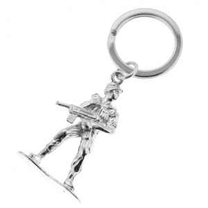 Army Figure Soldier Keyring, 925 Sterling Silver, Hallmarked