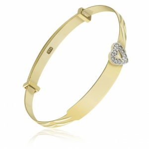 Babies Bangle 9ct Gold with Cubic Zirconia Heart (can be personalised)