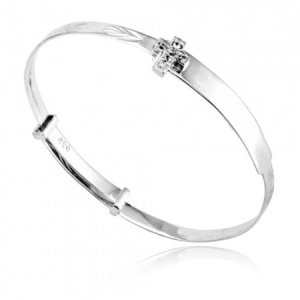 Babies Bangle with Cubic Zirconia Cross, Sterling Silver (can be personalised)