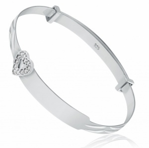 Babies Bangle with Cubic Zirconia Heart, Sterling Silver (can be personalised)