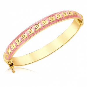 Pink Enamel Cats Babies Bangle, 9ct Gold, Personalised
