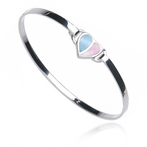Blue & Pink Heart Mother of Pearl Bangle, Sterling Silver