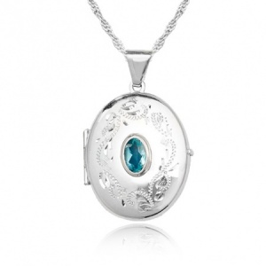 Blue Topaz Sterling Silver Engraved Locket Necklace