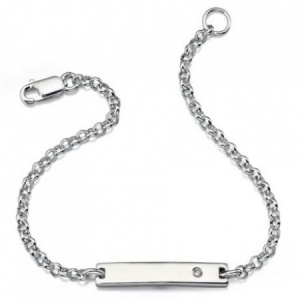 Boys Plain ID Bracelet, Sterling Silver & Diamond by D for Diamond (can be personalised)