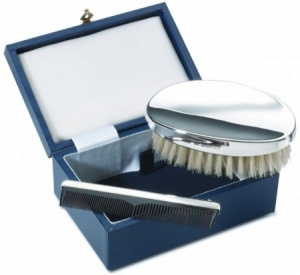 Gents Hair Brush & Comb Set Cased, Hallmarked Sterling Silver (can be personalised)