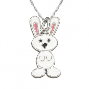 Girls White Bunny Rabbit Enamel & Sterling Silver Necklace by Pippa