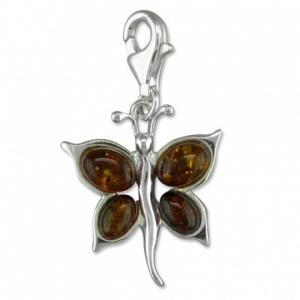 Butterfly with Amber Wings & Sterling Silver Charm