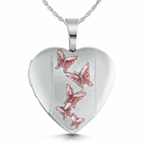 Pink Butterfly Locket, Personalised, Sterling Silver
