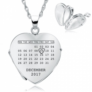 Personalised Calendar Locket Necklace, Heart Shaped, Sterling Silver