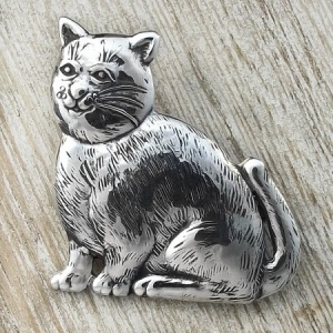 Cat Sterling Silver Brooch with Gift Box