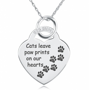 Cats Leave Paw Prints on our Hearts Heart Shaped Sterling Silver Necklace (can be personalised)