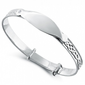 Celtic Style Babies Bangle, Personalised, Engraved, 925 Sterling Silver