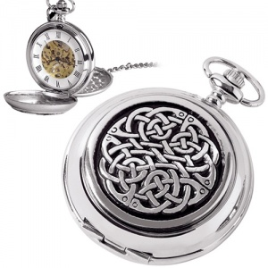 Celtic Knot Pewter Mechanical Skeleton Pocket Watch (can be personalised)